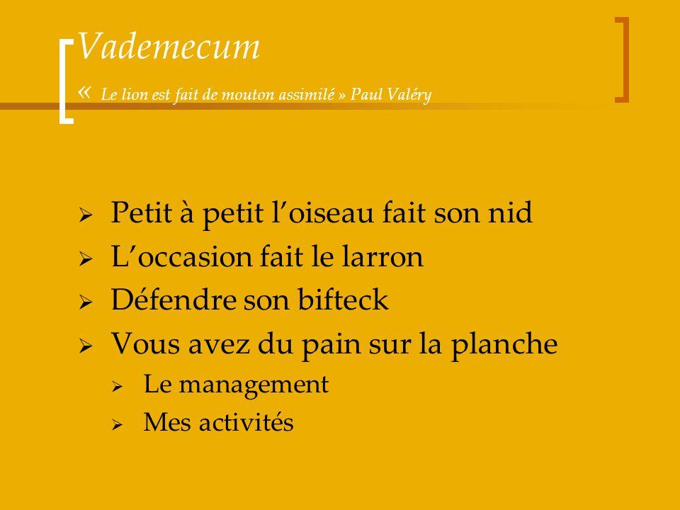 Vademecum « Le lion est fait de mouton assimilé » Paul Valéry