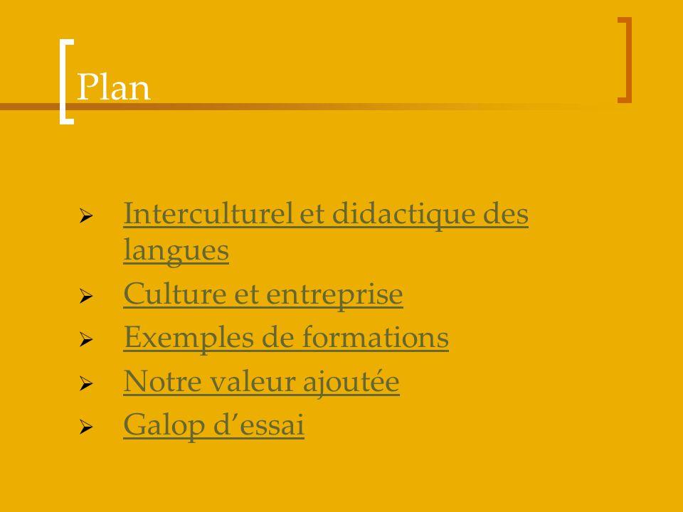 Plan Interculturel et didactique des langues Culture et entreprise