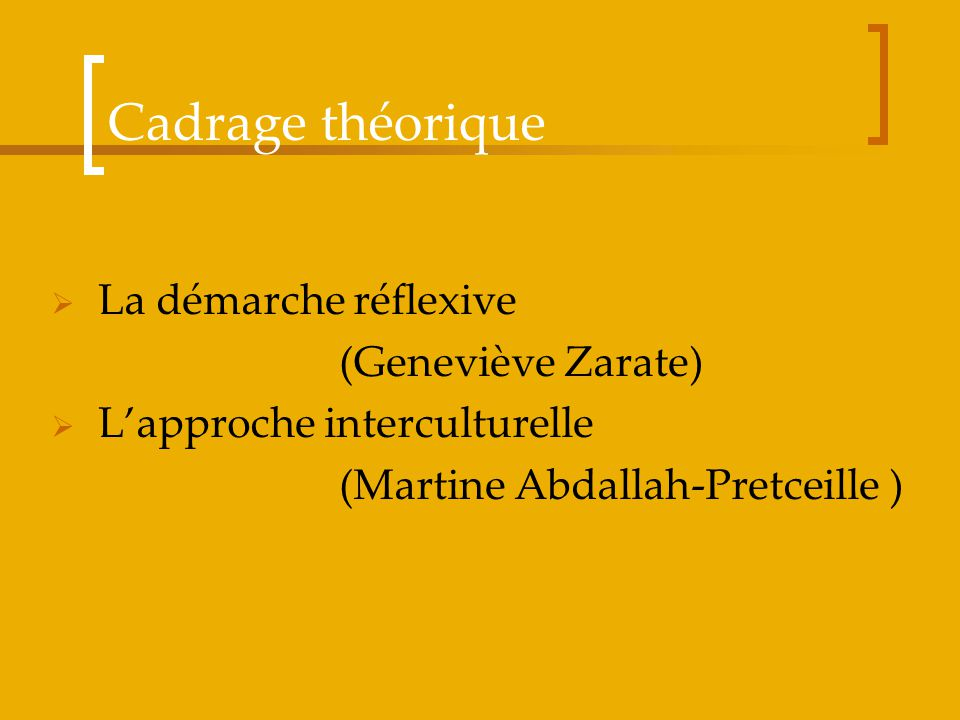 Cadrage théorique La démarche réflexive (Geneviève Zarate)