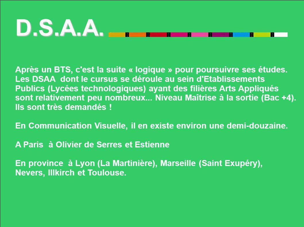 D.S.A.A. Après un BTS, c est la suite « logique » pour poursuivre ses études. Les DSAA dont le cursus se déroule au sein d Etablissements.