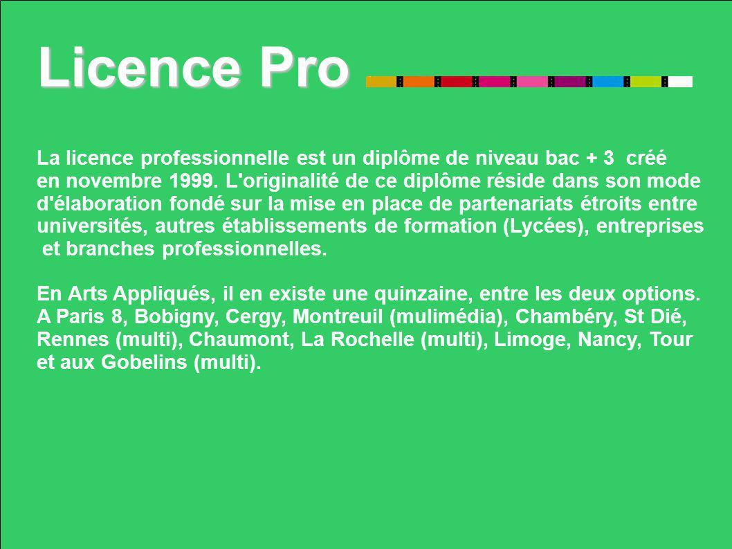 Licence Pro La licence professionnelle est un diplôme de niveau bac + 3 créé. en novembre 1999. L originalité de ce diplôme réside dans son mode.
