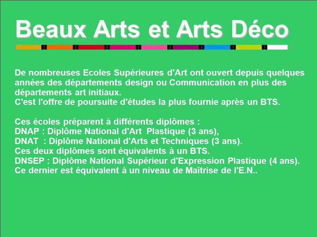 Beaux Arts et Arts Déco De nombreuses Ecoles Supérieures d Art ont ouvert depuis quelques.