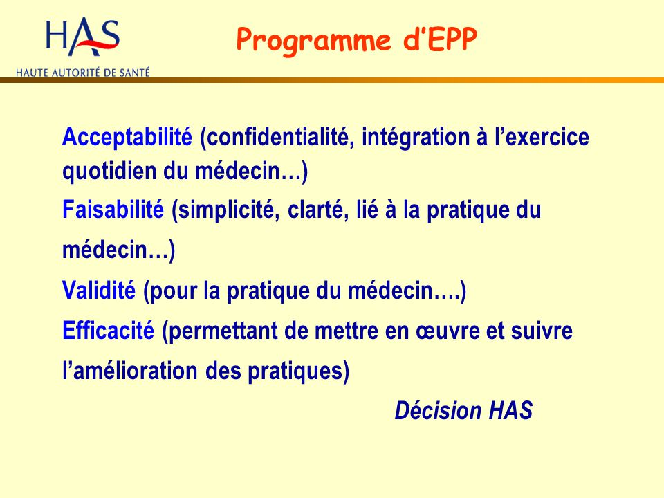 Programme d'EPP Acceptabilité (confidentialité, intégration à l'exercice quotidien du médecin…)