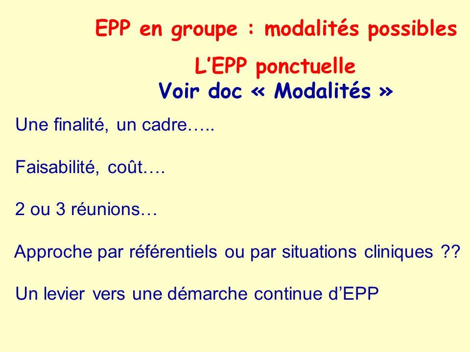 L'EPP ponctuelle Voir doc « Modalités »