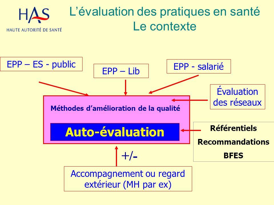 +/- L'évaluation des pratiques en santé Le contexte Auto-évaluation