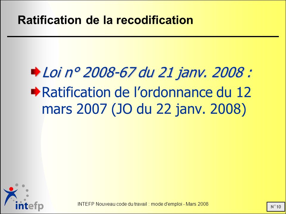 Ratification de la recodification