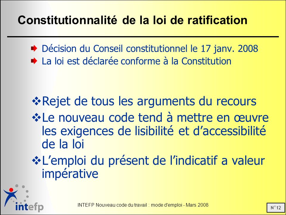 Constitutionnalité de la loi de ratification