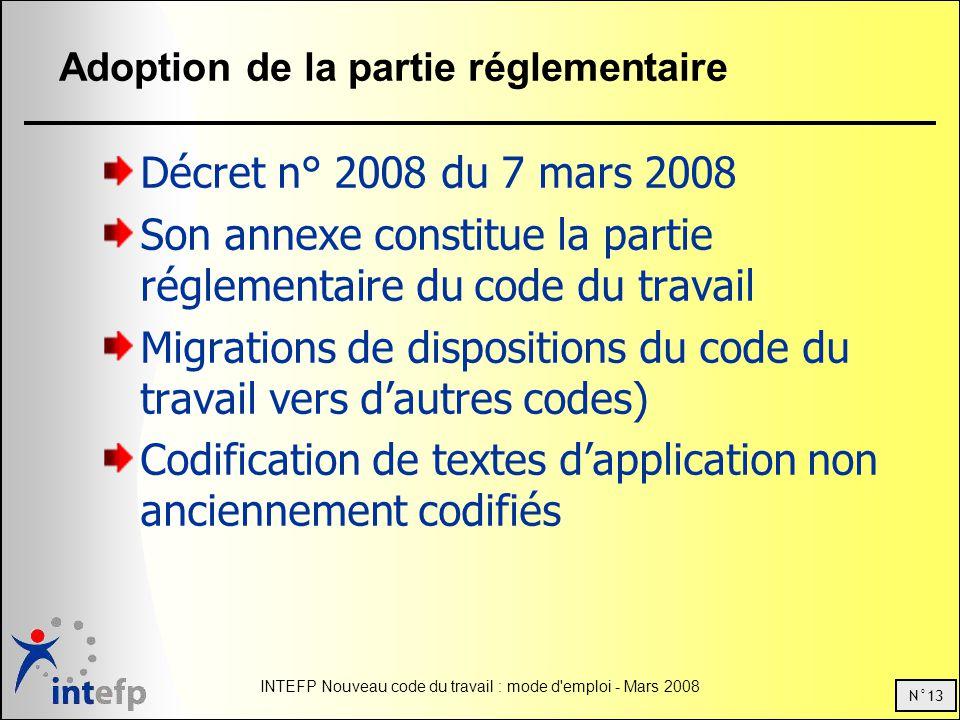 Adoption de la partie réglementaire