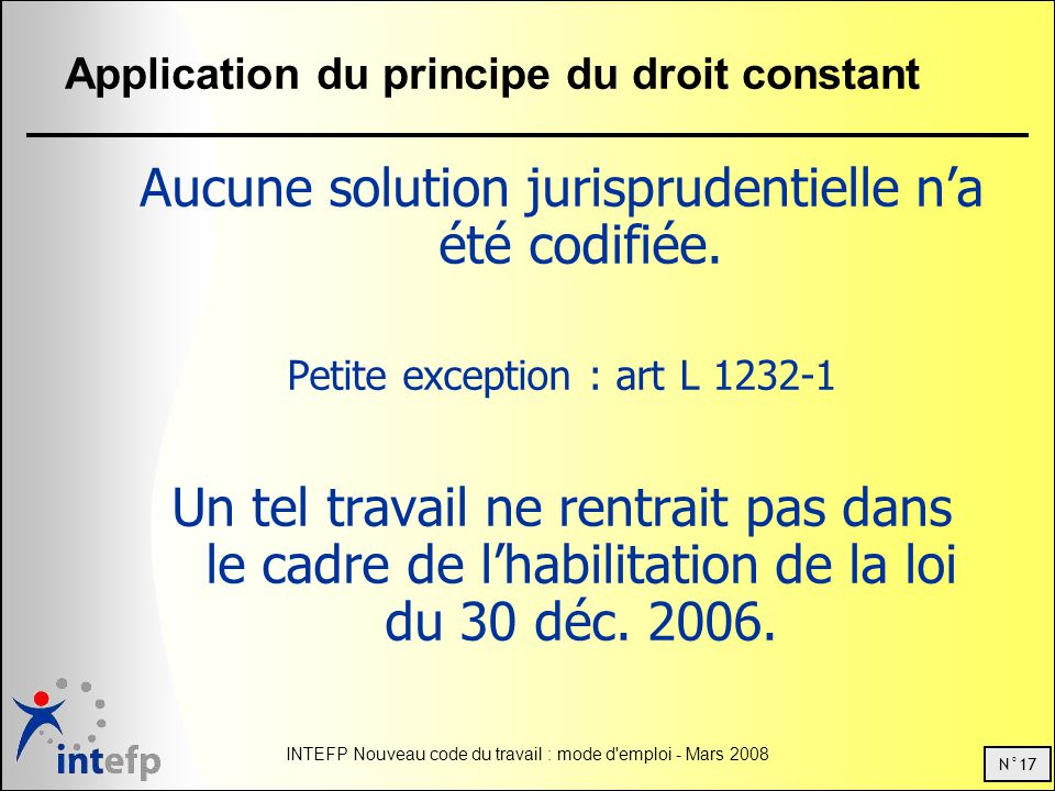 Application du principe du droit constant