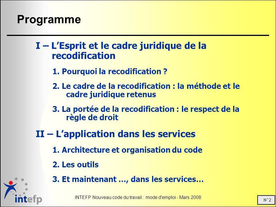 Programme I – L'Esprit et le cadre juridique de la recodification
