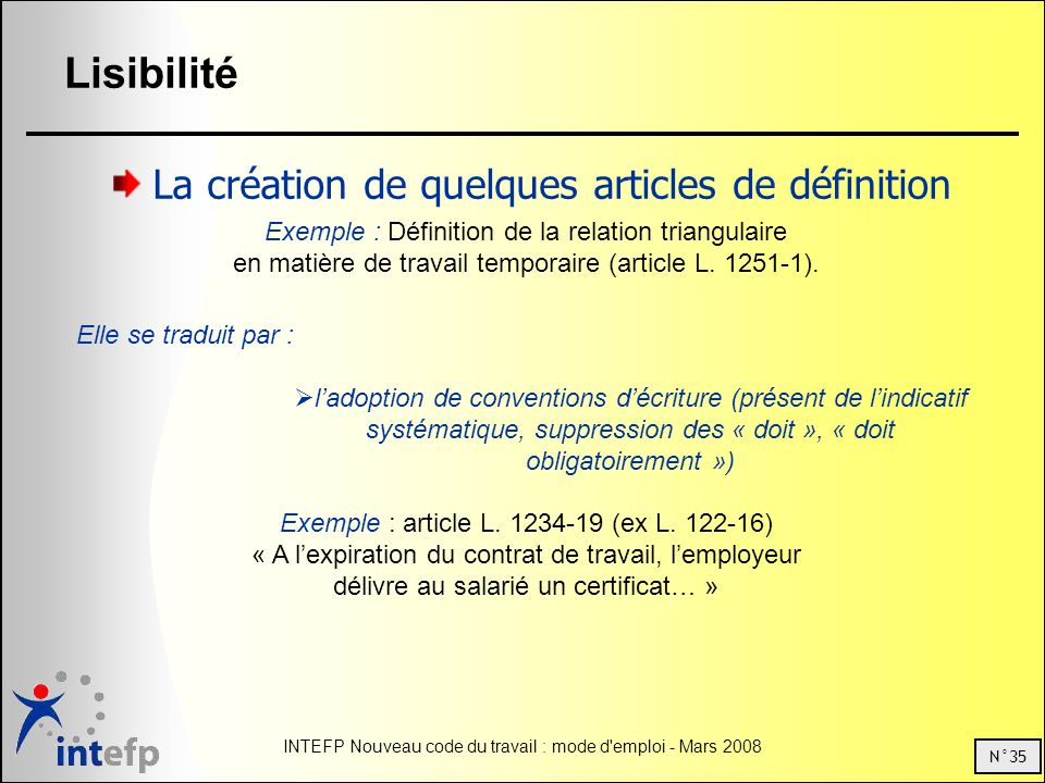 Exemple : article L. 1234-19 (ex L. 122-16)