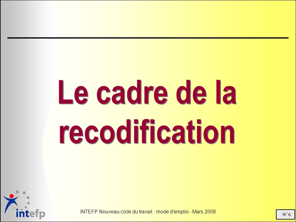 Le cadre de la recodification