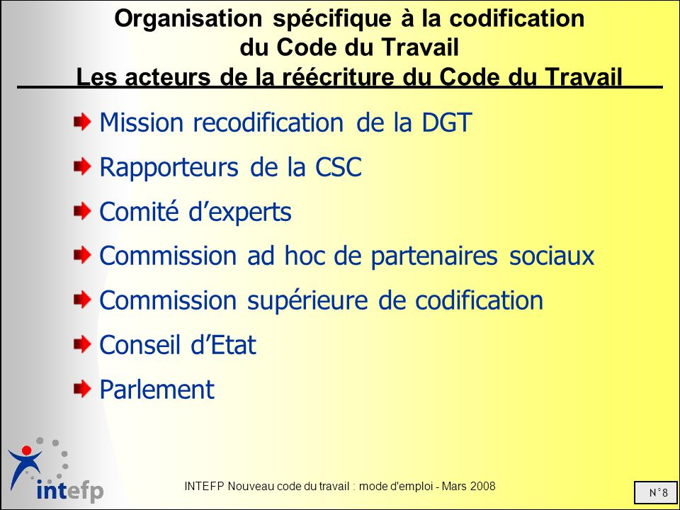 Mission recodification de la DGT Rapporteurs de la CSC