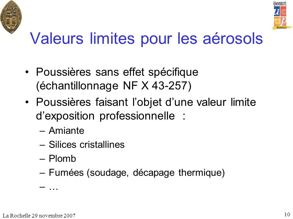 Valeurs limites pour les aérosols