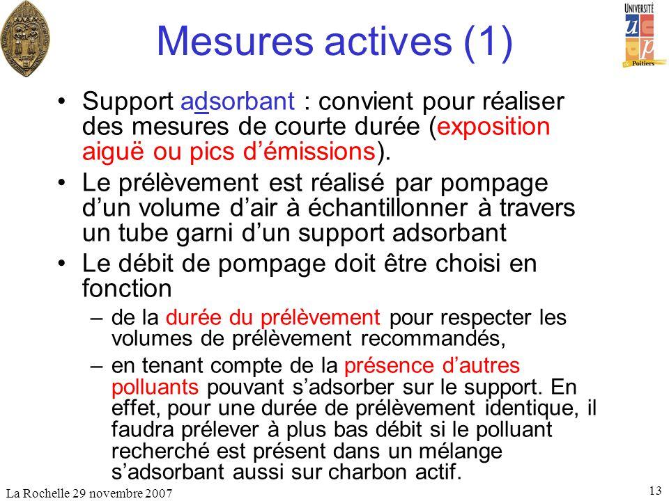 Mesures actives (1) Support adsorbant : convient pour réaliser des mesures de courte durée (exposition aiguë ou pics d'émissions).