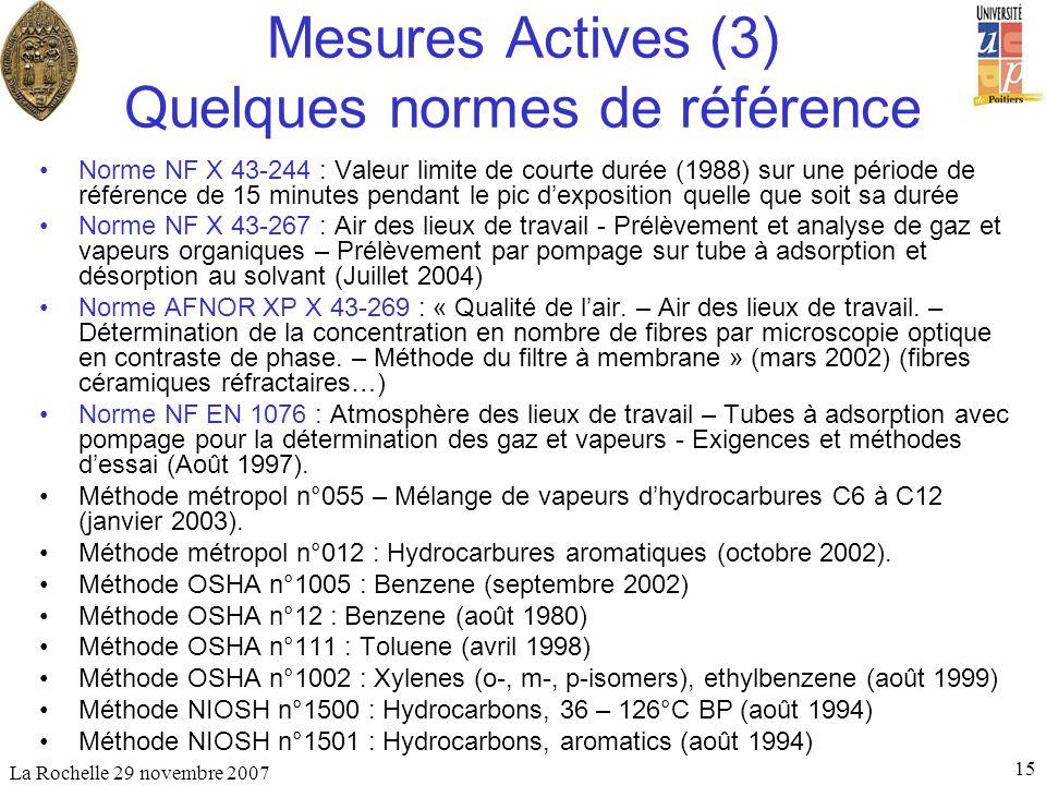 Mesures Actives (3) Quelques normes de référence