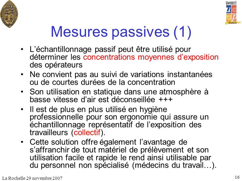 Mesures passives (1) L'échantillonnage passif peut être utilisé pour déterminer les concentrations moyennes d'exposition des opérateurs.