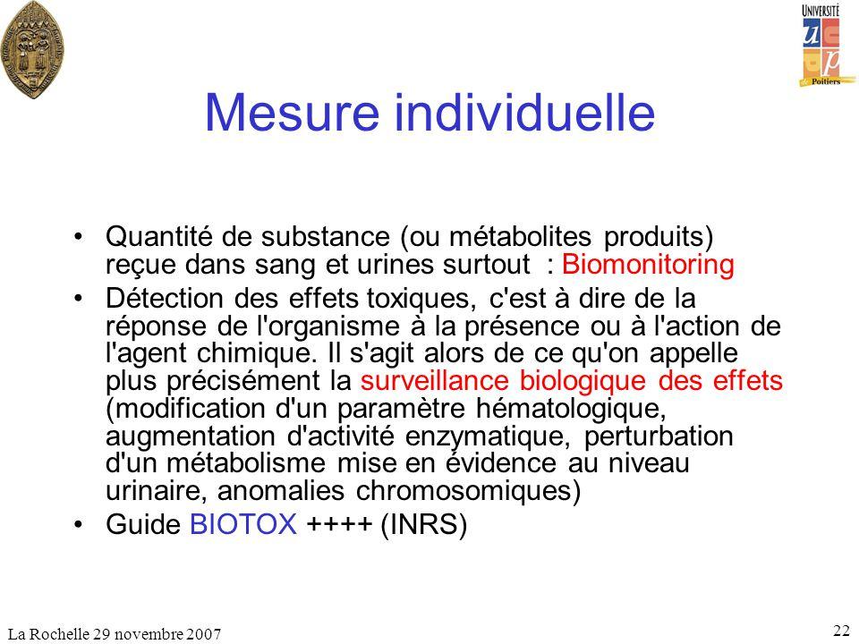 Mesure individuelle Quantité de substance (ou métabolites produits) reçue dans sang et urines surtout : Biomonitoring.