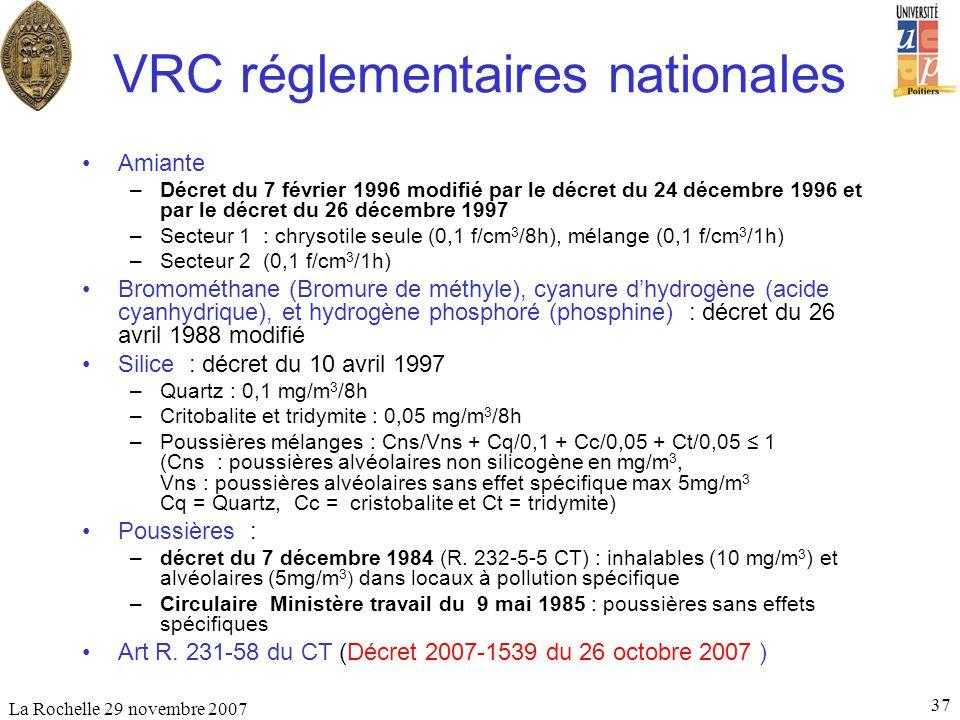 VRC réglementaires nationales
