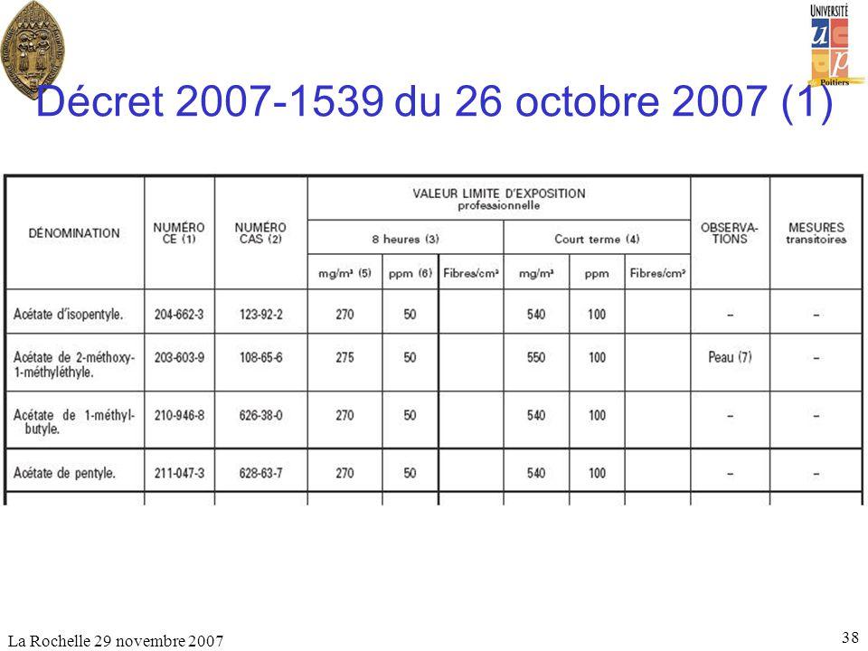 Décret 2007-1539 du 26 octobre 2007 (1) La Rochelle 29 novembre 2007