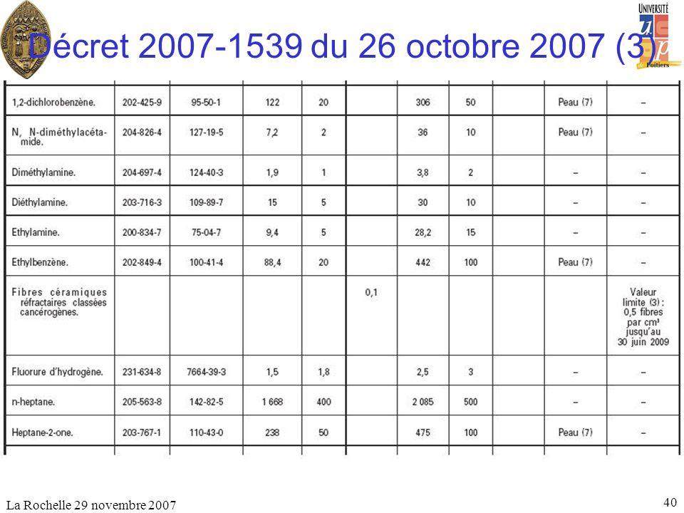 Décret 2007-1539 du 26 octobre 2007 (3) La Rochelle 29 novembre 2007