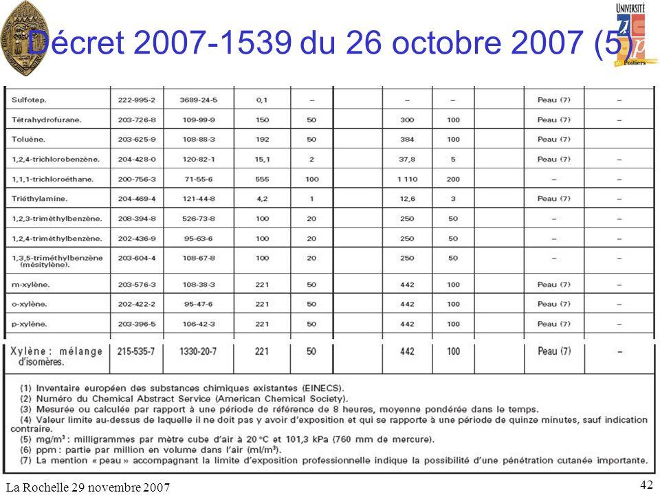 Décret 2007-1539 du 26 octobre 2007 (5) La Rochelle 29 novembre 2007