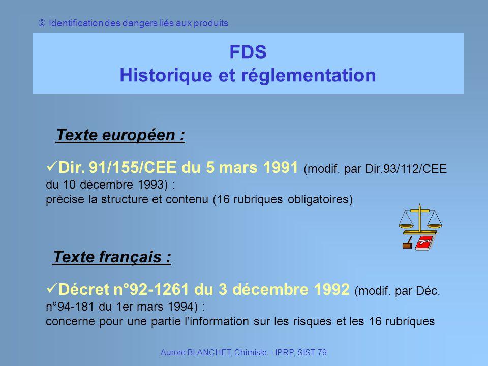 Historique et réglementation