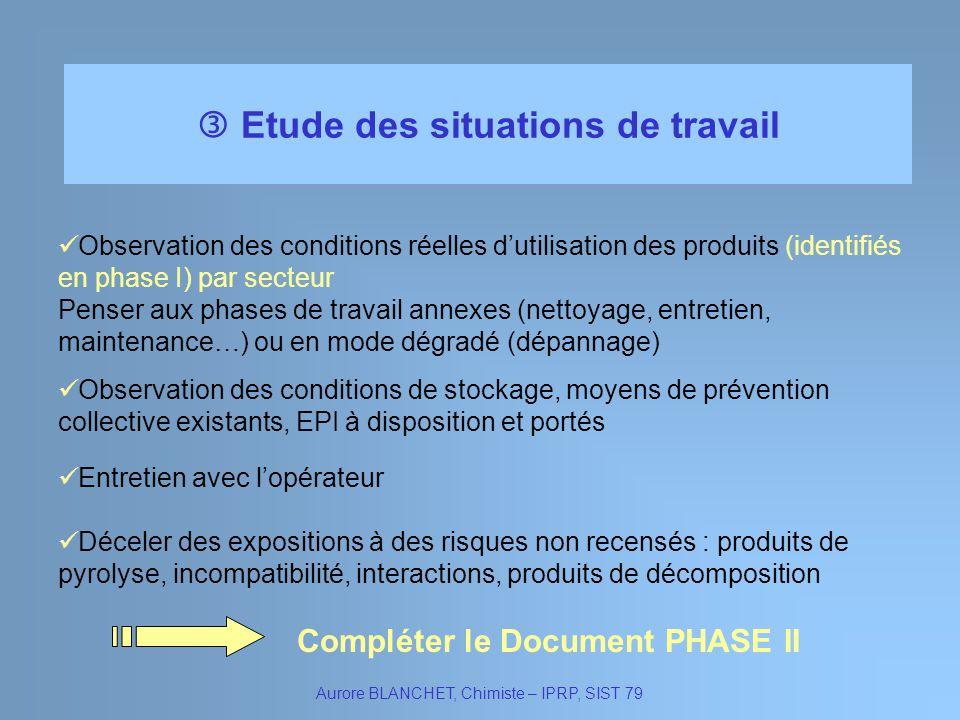  Etude des situations de travail Compléter le Document PHASE II