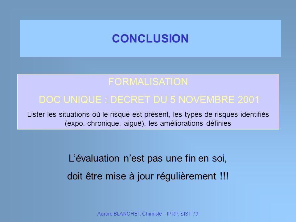 CONCLUSION FORMALISATION DOC UNIQUE : DECRET DU 5 NOVEMBRE 2001