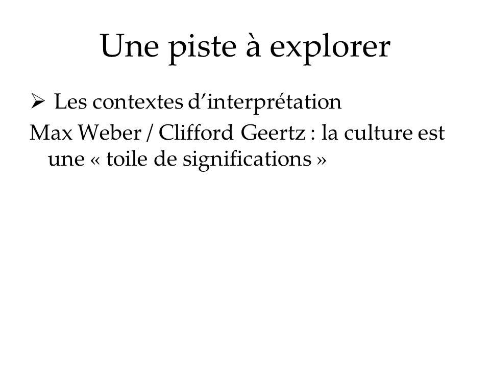 Une piste à explorer Les contextes d'interprétation