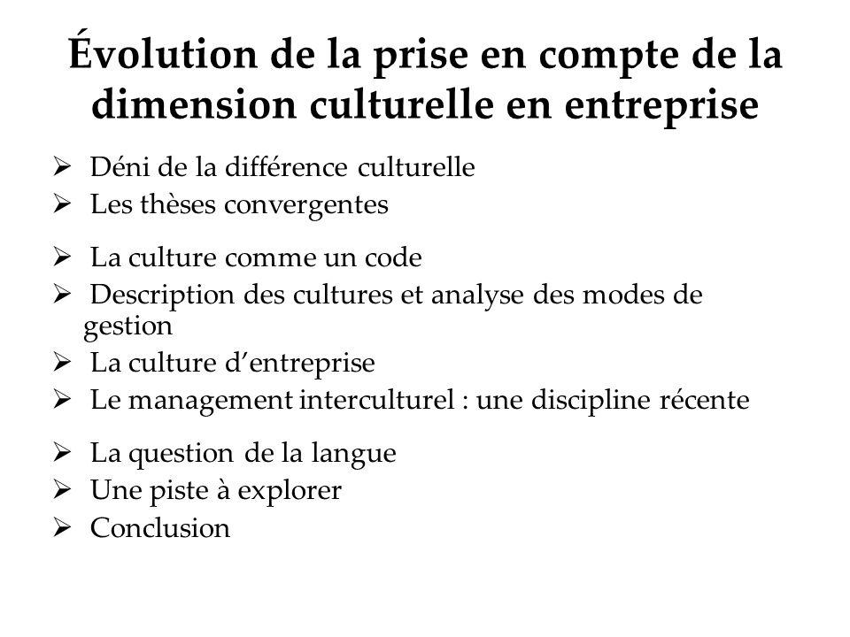 Évolution de la prise en compte de la dimension culturelle en entreprise