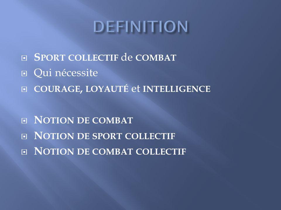 DEFINITION Sport collectif de combat Qui nécessite