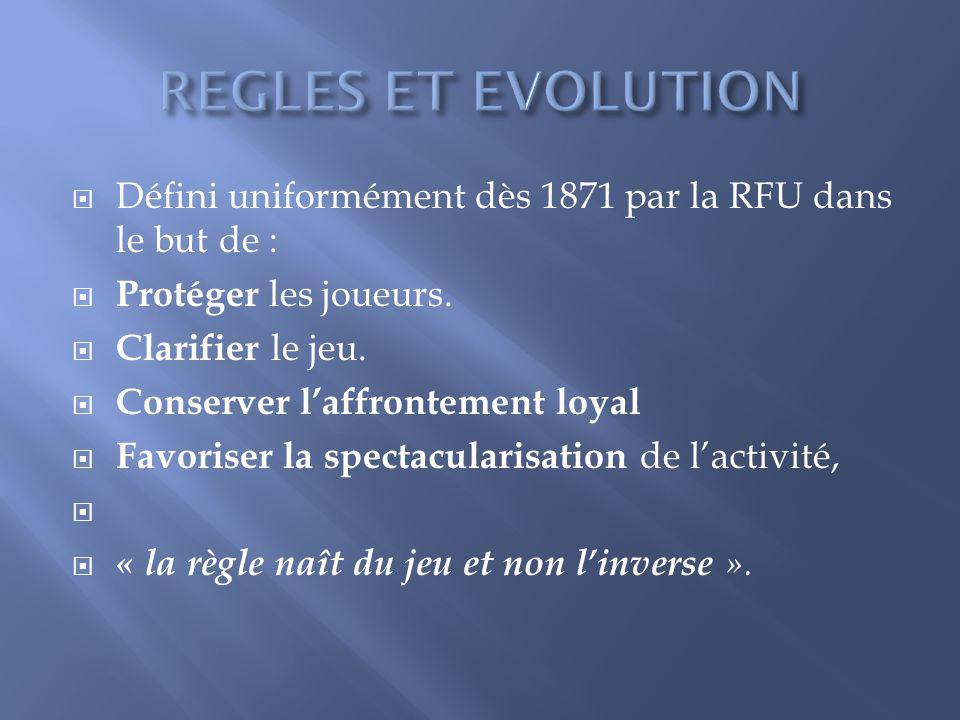 REGLES ET EVOLUTION Défini uniformément dès 1871 par la RFU dans le but de : Protéger les joueurs.