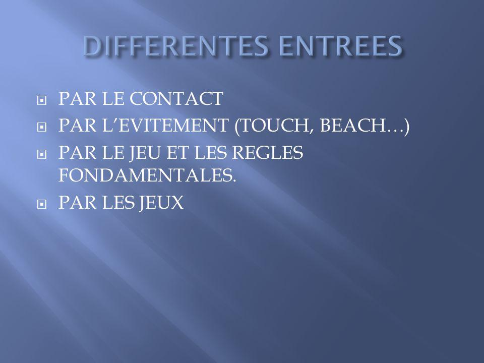 DIFFERENTES ENTREES PAR LE CONTACT PAR L'EVITEMENT (TOUCH, BEACH…)