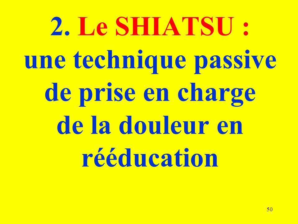 2. Le SHIATSU : une technique passive de prise en charge de la douleur en rééducation