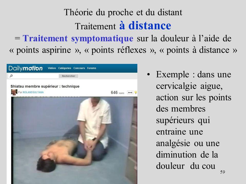 Théorie du proche et du distant Traitement à distance = Traitement symptomatique sur la douleur à l'aide de « points aspirine », « points réflexes », « points à distance »