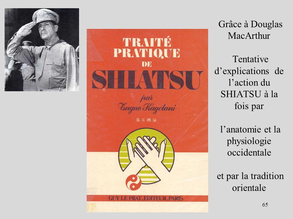 Grâce à Douglas MacArthur Tentative d'explications de l'action du SHIATSU à la fois par l'anatomie et la physiologie occidentale et par la tradition orientale