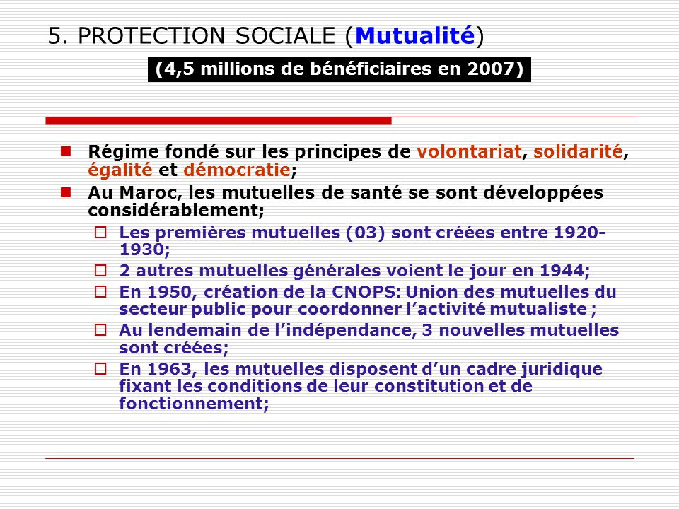 5. PROTECTION SOCIALE (Mutualité)