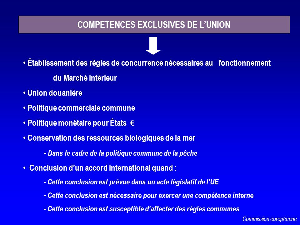 COMPETENCES EXCLUSIVES DE L'UNION