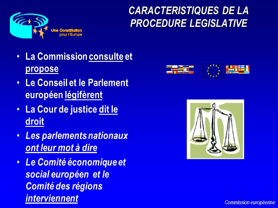 CARACTERISTIQUES DE LA PROCEDURE LEGISLATIVE