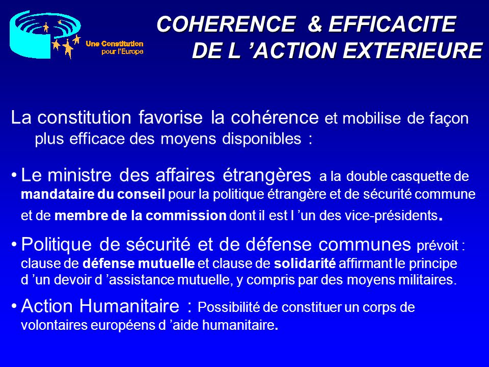 COHERENCE & EFFICACITE DE L 'ACTION EXTERIEURE