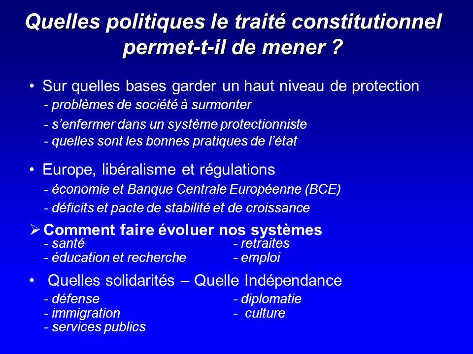 Quelles politiques le traité constitutionnel permet-t-il de mener