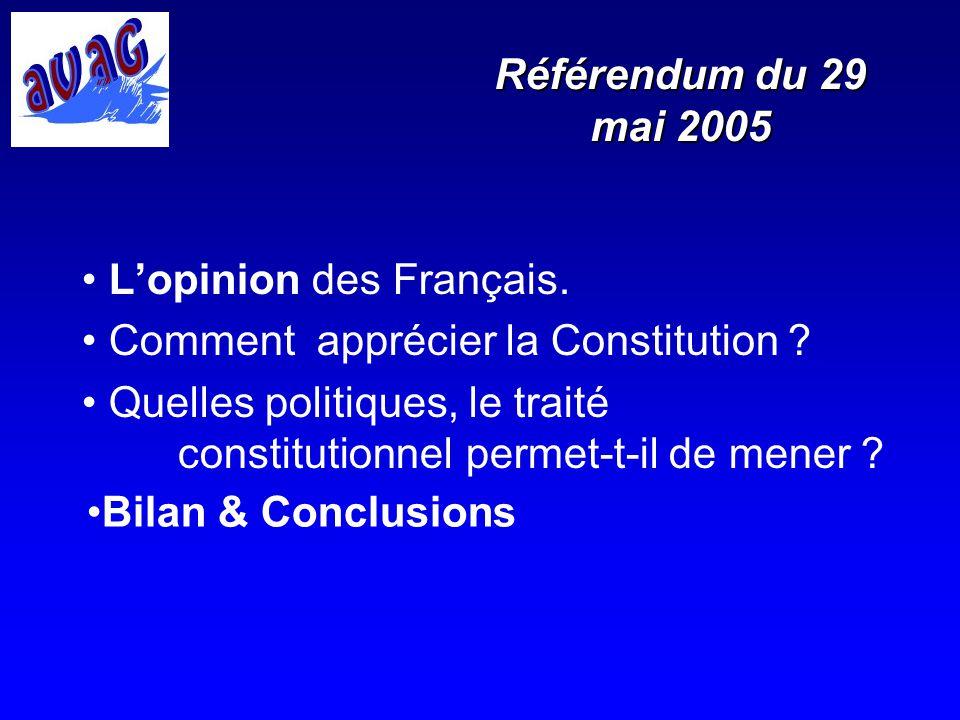 Référendum du 29 mai 2005 L'opinion des Français. Comment apprécier la Constitution