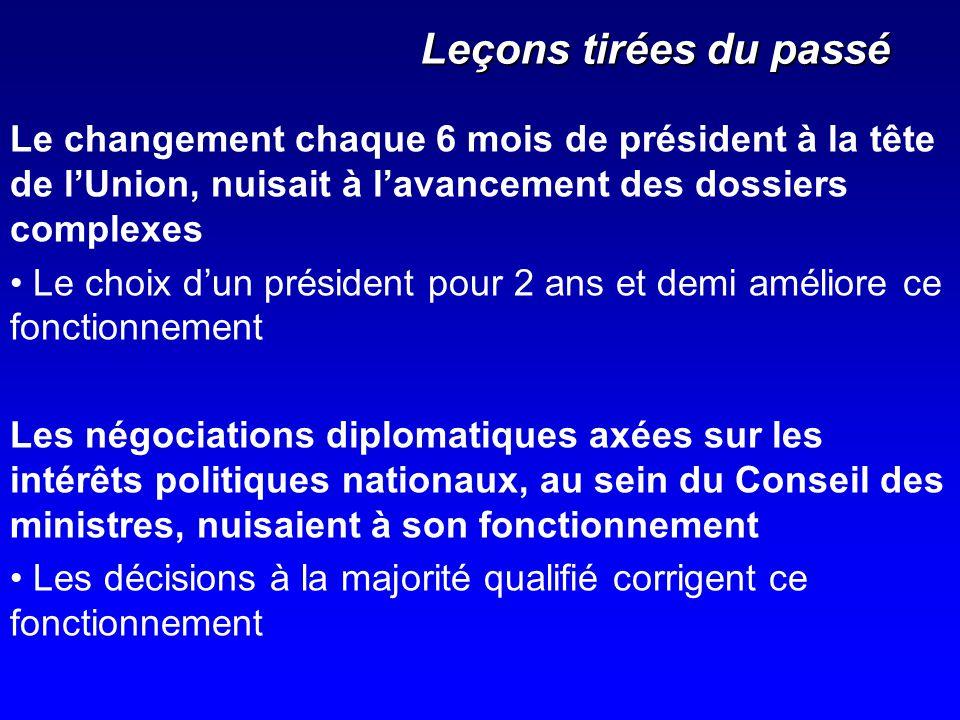 Leçons tirées du passé Le changement chaque 6 mois de président à la tête de l'Union, nuisait à l'avancement des dossiers complexes.