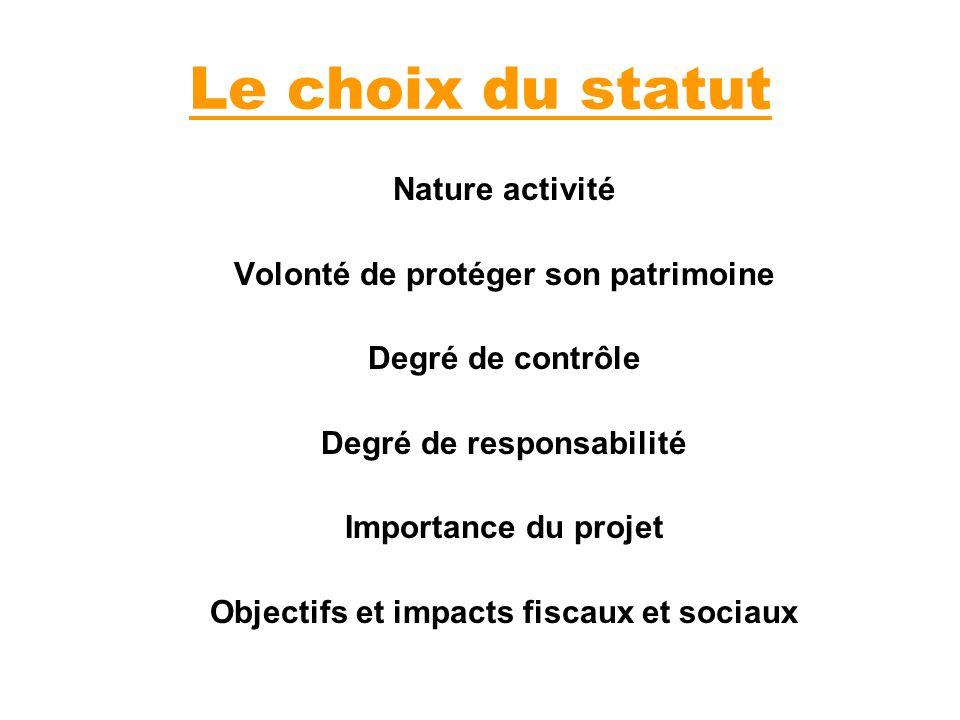 Le choix du statut Nature activité Volonté de protéger son patrimoine