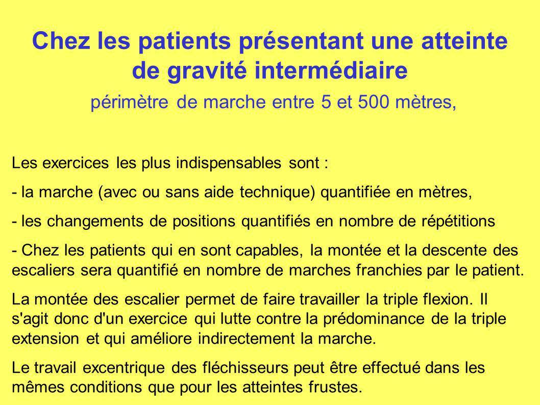 Chez les patients présentant une atteinte de gravité intermédiaire périmètre de marche entre 5 et 500 mètres,