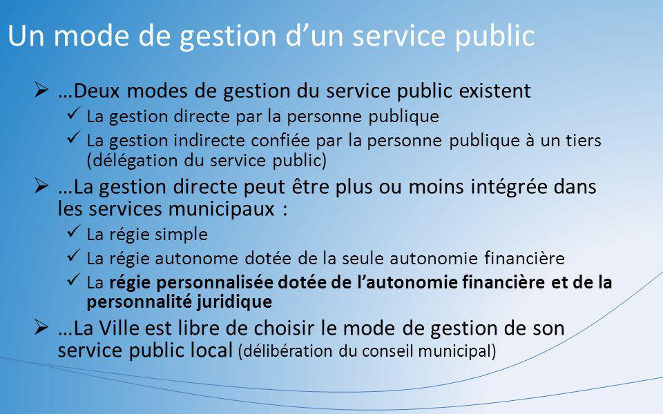Un mode de gestion d'un service public