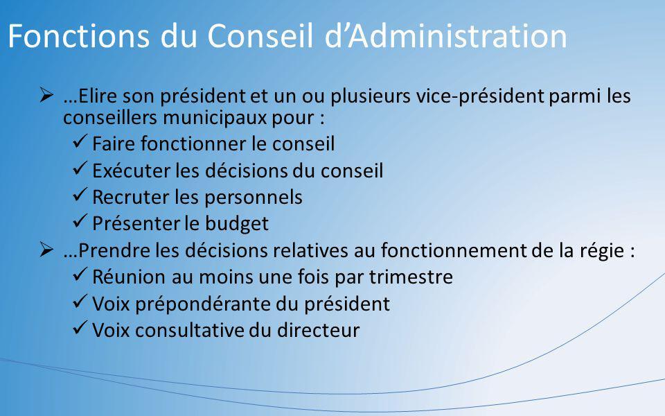 Fonctions du Conseil d'Administration