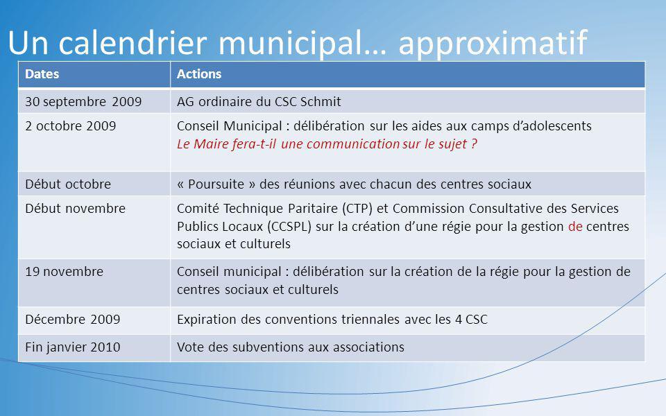 Un calendrier municipal… approximatif