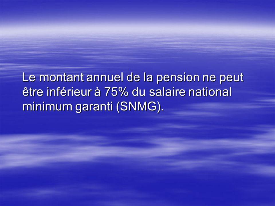 Le montant annuel de la pension ne peut être inférieur à 75% du salaire national minimum garanti (SNMG).